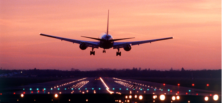 Gatwick Airport, aircraft landing at dawn, 2002, SB (CGA535) Google Image